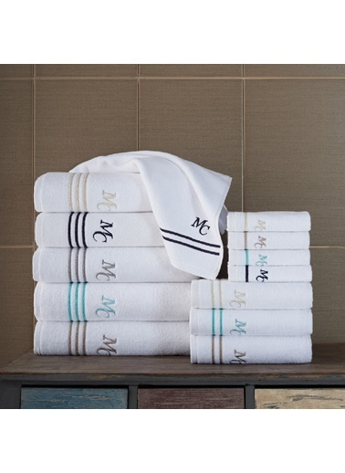 Marie Claire 2 Li Havlu Set-Baptıste 30X30 2Li Set Beyaz Lacıvert 100% Pamuk  Beyaz